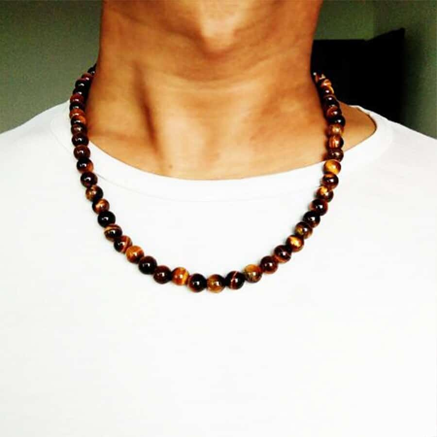 A person wearing a necklace
